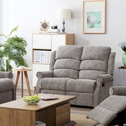 An Image of Curtis Fabric Recliner 2 Seater Sofa In Latte