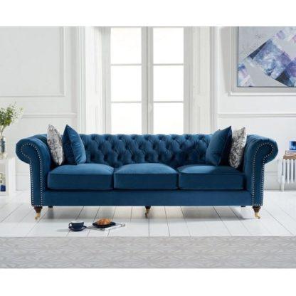 An Image of Holbrook Chesterfield 3 Seater Sofa In Blue Velvet
