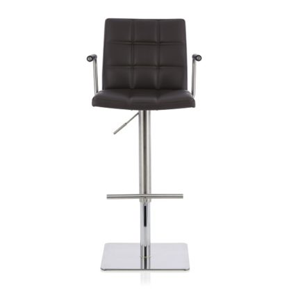 An Image of Deloris Bar Stool In Brown Faux Leather And Stainless Steel Base