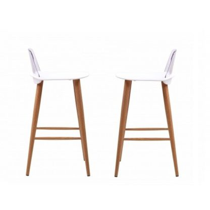 An Image of Madisson White Bar Stool With Oak Look Metal Legs In A Pair