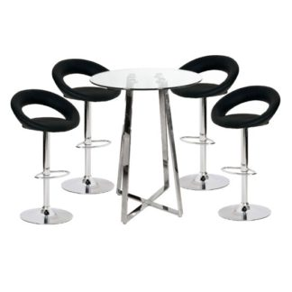 An Image of Poseur Glass Top Bar Table with 4 Leoni Black Bar Stools
