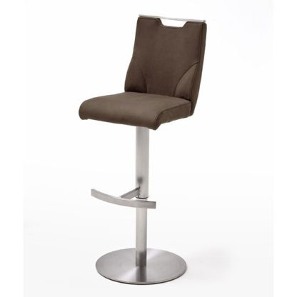 An Image of Jiulia Leather Bar Stool In Brown With Steel Base