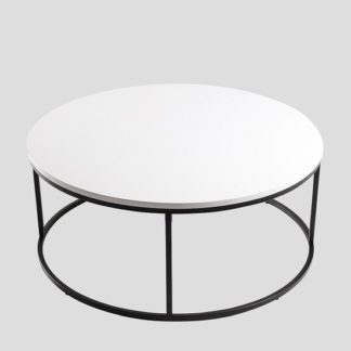 An Image of Alpen Coffee Table Round In White High Gloss Black Metal Frame