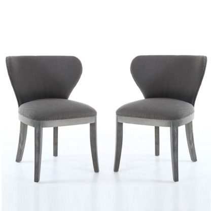An Image of Niobe Fabric Dining Chair In Antique Grey In A Pair