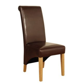 An Image of Rocco PU Leather Dining Dining Chair In Brown
