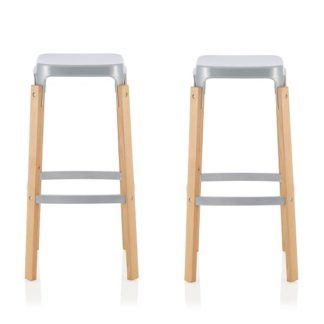 An Image of Hoker 66cm Bar Stools In Glossy Silver In A Pair