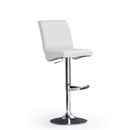 An Image of Diaz White Bar Stool In Faux Leather With Round Chrome Base