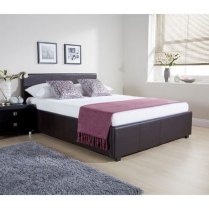 An Image of Side Lift Ottoman Faux Leather Small Double Bed In Brown