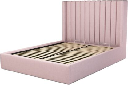 An Image of Custom MADE Cory King size Bed with Ottoman, Tea Rose Pink Cotton