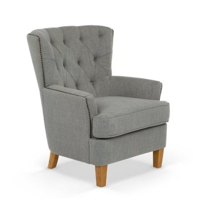 An Image of Arcadia Fabric Lounge Chair In Grey With Light Wooden Legs