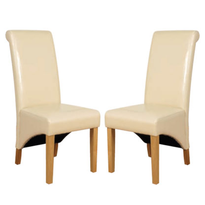An Image of Rocco Ivory PU Leather Dining Dining Chair In Pair