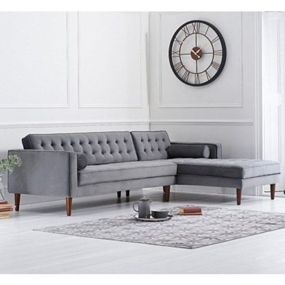 An Image of Ogma Velvet Right Facing Chaise Sofa Bed In Grey