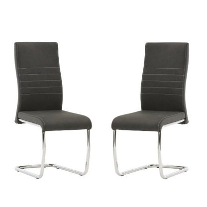 An Image of Devan Cantilever Dining Chair In Black Faux Leather In A Pair