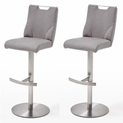 An Image of Jiulia Ice Grey Bar Stool In Pair With Stainless Steel Base