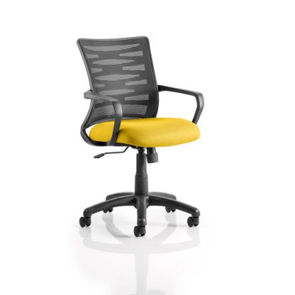 An Image of Eclipse Home Office Chair In Yellow With Castors