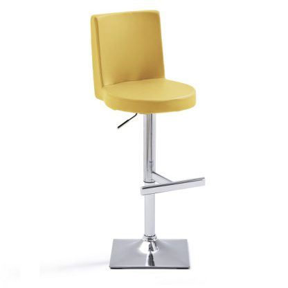 An Image of Twist Bar Stool Curry Faux Leather With Square Chrome Base
