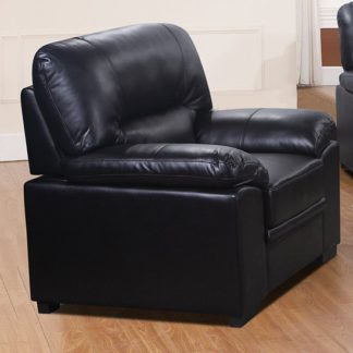 An Image of Rachel LeatherGel And PU 1 Seater Sofa In Black