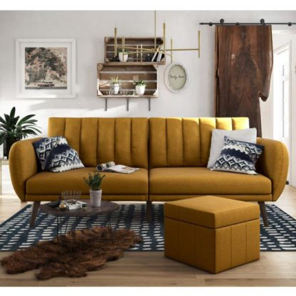 An Image of Brittany Linen Sofa Bed In Mustard With Wooden Legs
