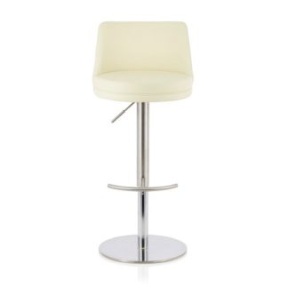 An Image of Niven Bar Stool In Cream Faux Leather And Stainless Steel Base