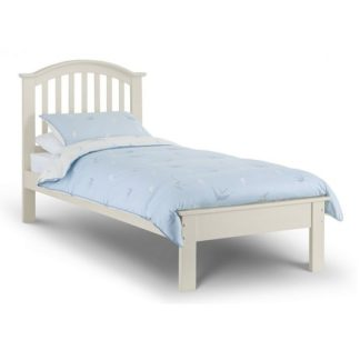 An Image of Brashear Wooden Single Size Bed In Stone White Lacquer