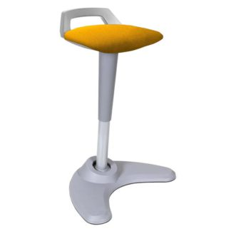 An Image of Spry Fabric Office Stool In Grey Frame And Senna Yellow Seat