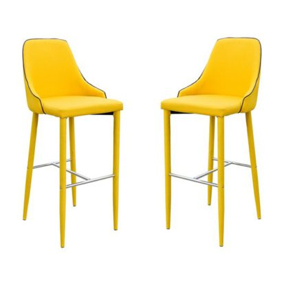 An Image of Duncan Yellow Fabric Bar Stool In Pair