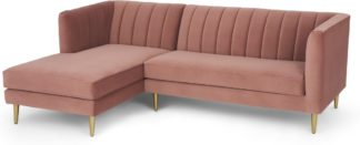 An Image of Amicie Left Hand Facing Chaise End Corner Sofa, Blush Pink Velvet