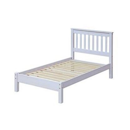 An Image of Corina Single Slatted Bed In White Washed Wax Finish