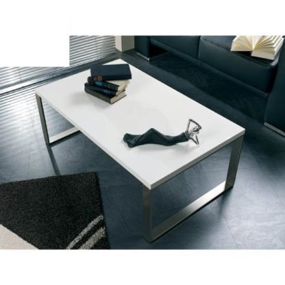 An Image of Luna Coffee Table In High Gloss White With Stainless Steel Legs