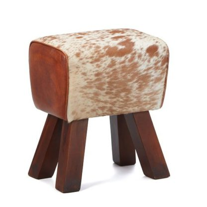 An Image of Hurst Stool In Cream And Brown Leather With Solid Wooden Legs