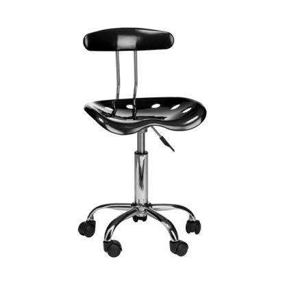 An Image of Hanoi Office Chair In Black ABS With Chrome Base And 5 Wheels