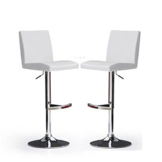 An Image of Lopes Bar Stools In White Faux Leather in A Pair