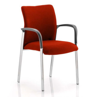 An Image of Academy Fabric Back Visitor Chair In Tabasco Red With Arms