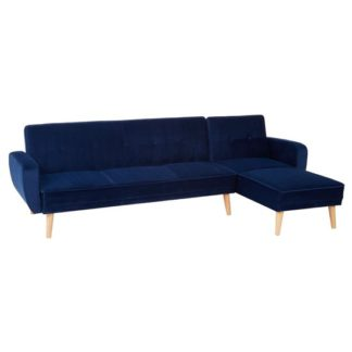 An Image of Porrima 3 Seater Fabric Sofa Bed In Navy Blue