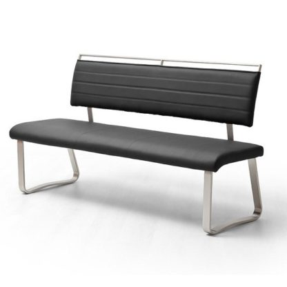 An Image of Scala Dining Bench In Black PU And Brushed Stainless Steel