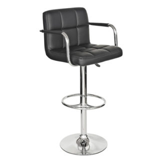 An Image of Coco Black Faux Leather Bar Stool With Chrome Base