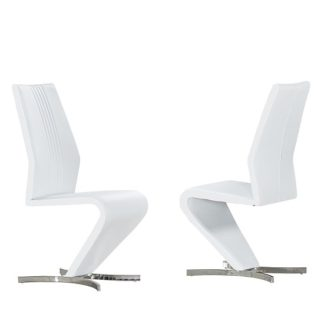 An Image of Gia Dining Chairs In White Faux Leather In A Pair