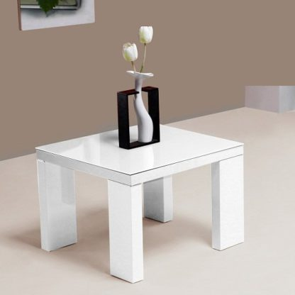 An Image of Giovanni Glass Top Lamp Table in White With High Gloss Legs