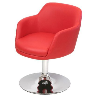 An Image of Bucketeer Bar Chair In Red Faux Leather With Chrome Base