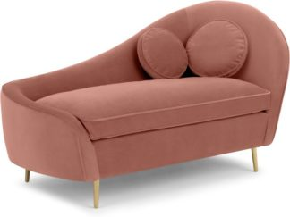 An Image of Kooper Left Hand Facing Chaise Longue, Blush Pink Velvet