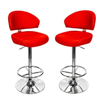 An Image of Casino Red Leather Bar Stool In Pair