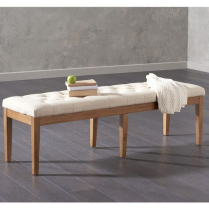 An Image of Absolutno Fabric Large Dining Bench In Beige