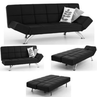 An Image of Venice Sofa Bed Faux Leather In Black With Chrome Legs
