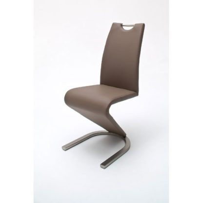 An Image of Amado Z Cappuccino Faux Leather Metal Swinging Dining Chair