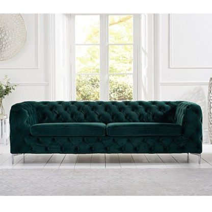 An Image of Sabine Velvet Three Seater Sofa In Plush Green With Metal Legs
