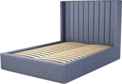 An Image of Custom MADE Cory Double size Bed with Drawers, Denim Cotton