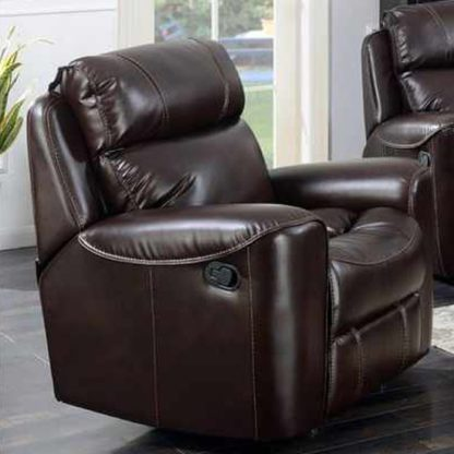 An Image of Mebsuta Leather Lounge Chaise Armchair In Chestnut