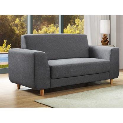 An Image of Fida Fabric 2 Seater Sofa In Dark Grey