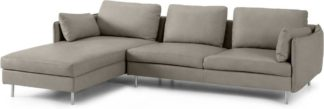 An Image of Vento 3 Seater Left Hand Facing Chaise End Sofa, Pale Putty Leather