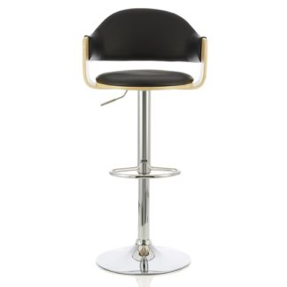 An Image of Emden Bar Stool In Oak And Black PU With Chrome Base